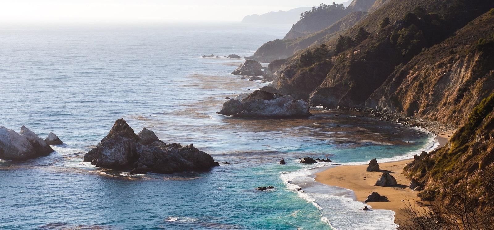 Rocky shoreline and cliffs of California