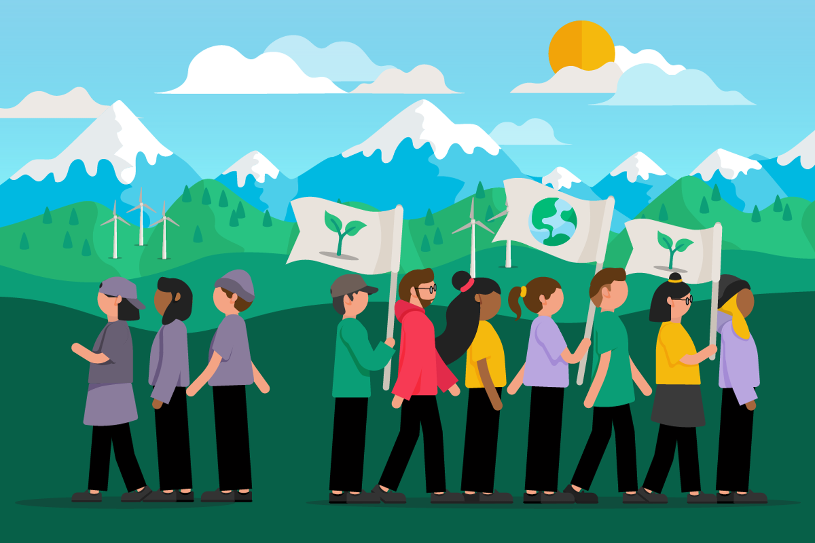 people walking holding flags with images of the earth and saplings