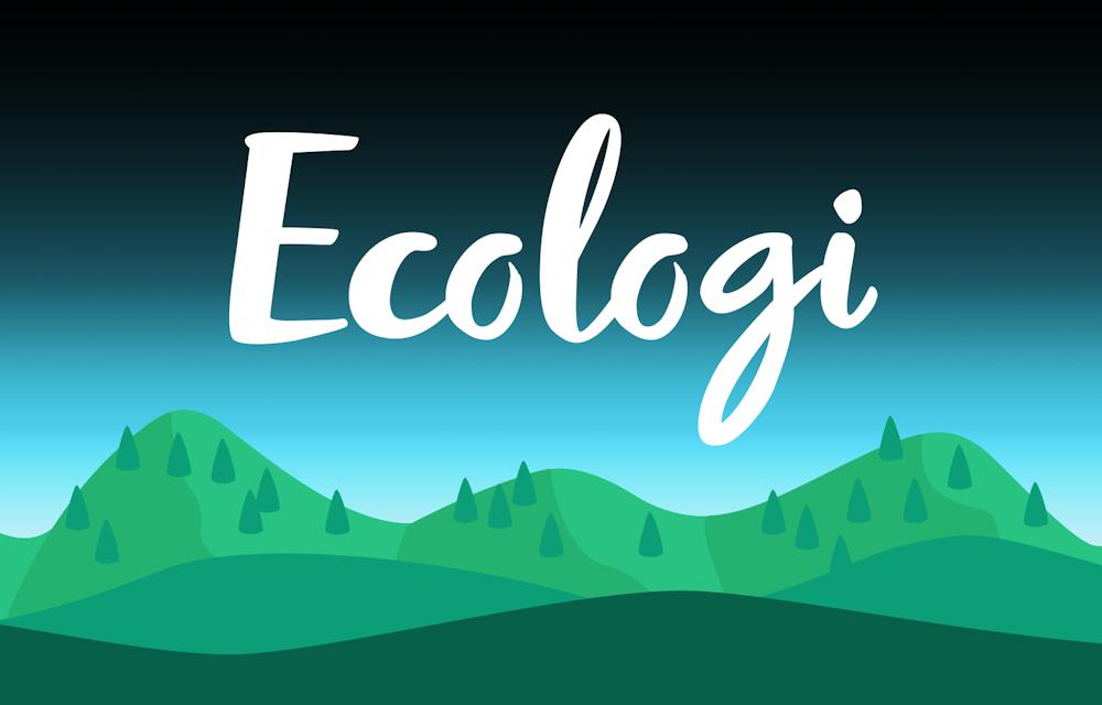 New Ecologi logo on mountain illustration